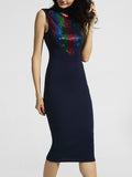 ByChicStyle High Neck Glitter Bodycon-dress - Bychicstyle.com