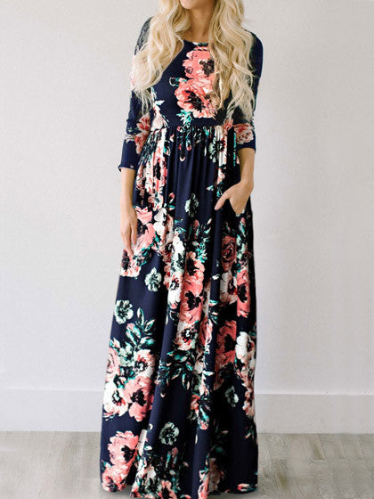 Casual Ecstatic Harmony Navy Blue Floral Print Maxi Dress