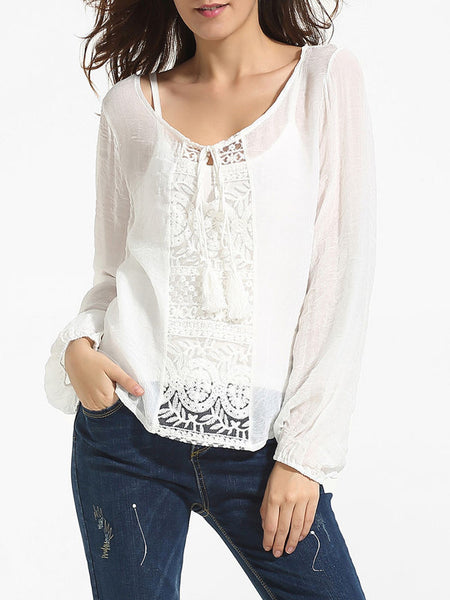 Casual Puff Sleeve Round Neck Chiffon Lace Patchwork Plain Blouse