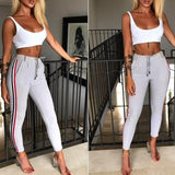 ByChicStyle Light Grey Striped Print Drawstring Waist Casual Long Pants