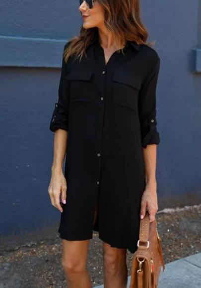 Casual New Women Black Plain Pockets Buttons Turndown Collar Casual Mini Dress