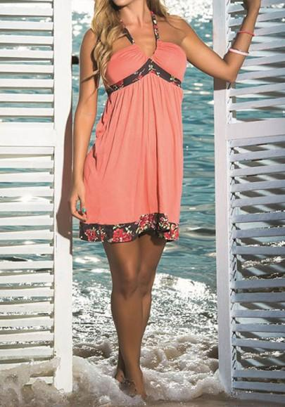 Casual New Women Pink Floral Bandeau Tie Back V-neck Mini Dress