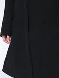 ByChicStyle Casual Band Collar Longline Plain Woolen Coat