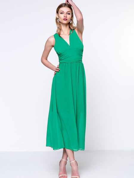 Stylish Ruched Deep V-Neck Chiffon Maxi Dress - Bychicstyle.com