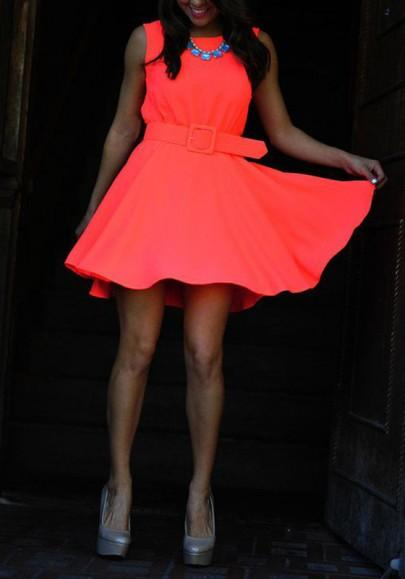 Casual New Women Orange Plain Belt Ruffle Round Neck Sleeveless Mini Dress
