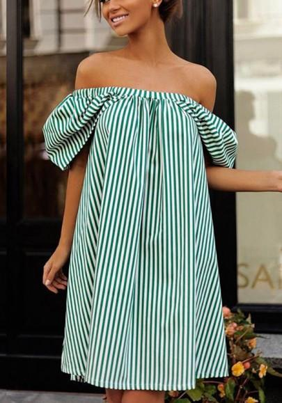 New Women Green-White Striped Irregular Draped Off Shoulder Backless Tutu Mini Dress