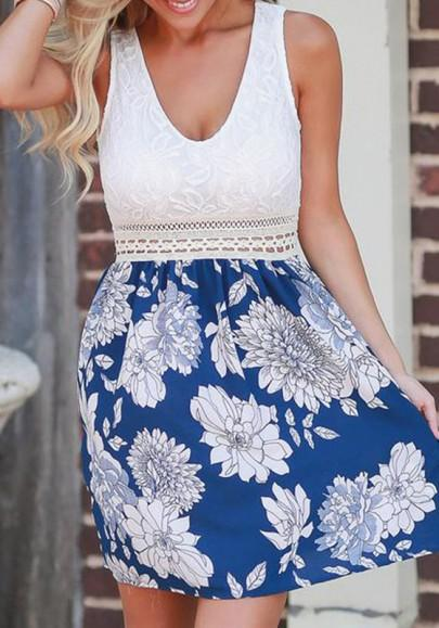 Casual New Women Blue Patchwork Floral Print V-neck Sleeveless Casual Mini Dress