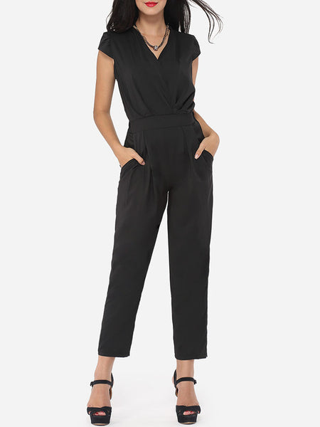 Plain Pockets Designed Jumpsuits - Bychicstyle.com