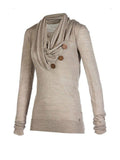 ByChicStyle Cowl Neck Decorative Button Plain Hoodie - Bychicstyle.com