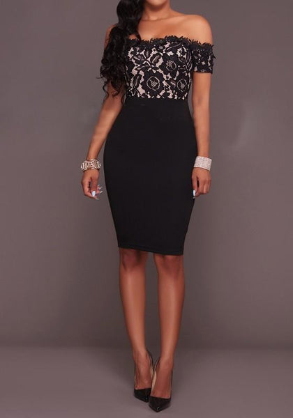 Black Patchwork Hollow-out Lace Boat Neck Short Sleeve Midi Dress