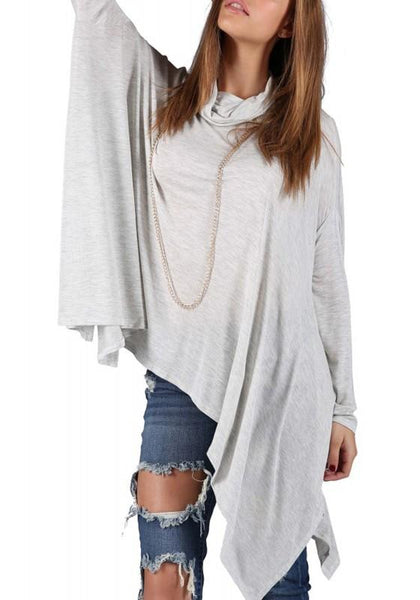 Light Grey Plain Irregular Draped Band Collar Cowl Neck Oversized Casual T-Shirt