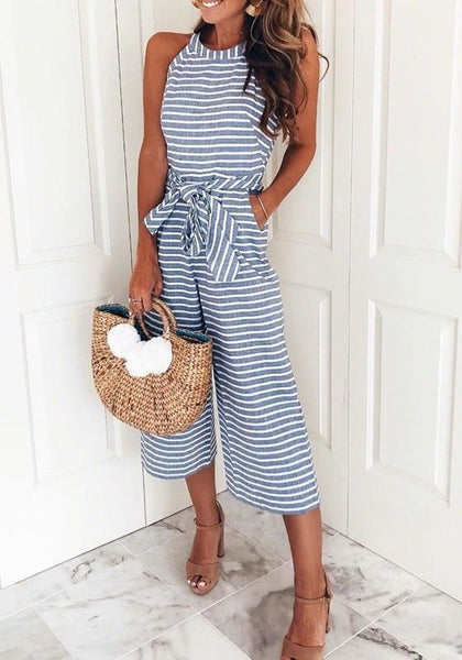 ByChicStyle Blue-White Striped Sashes One Piece High Waisted Casual Wide Leg Seven's Jumpsuit