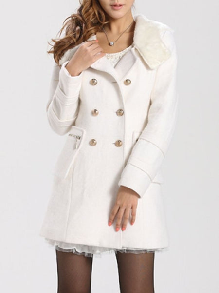 New Hooded Breasted Plain Woolen Coat - Bychicstyle.com