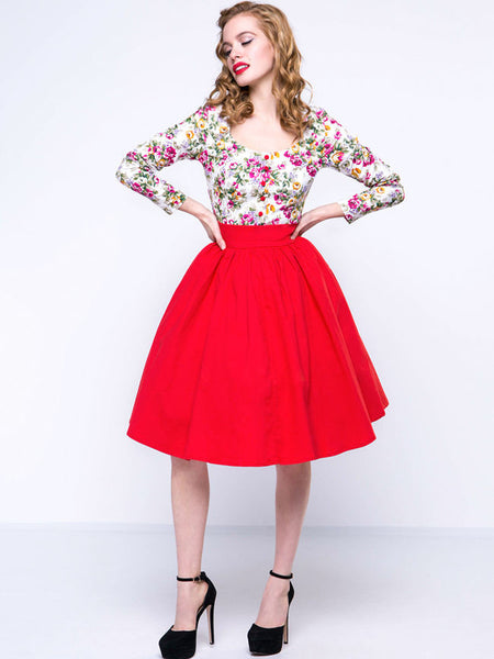 Round Neck Floral Printed Skater Dress - Bychicstyle.com