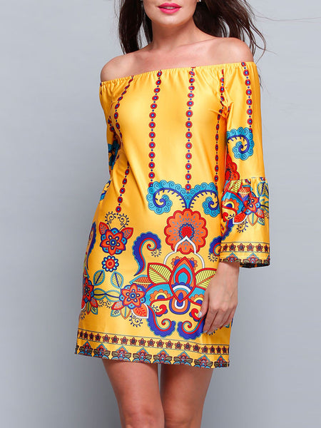 Casual Yellow Bohemian Printed Off Shoulder Shift Dress