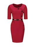 ByChicStyle Chic Diagonal Button 3/4 Sleeve Bodycon Dress - Bychicstyle.com
