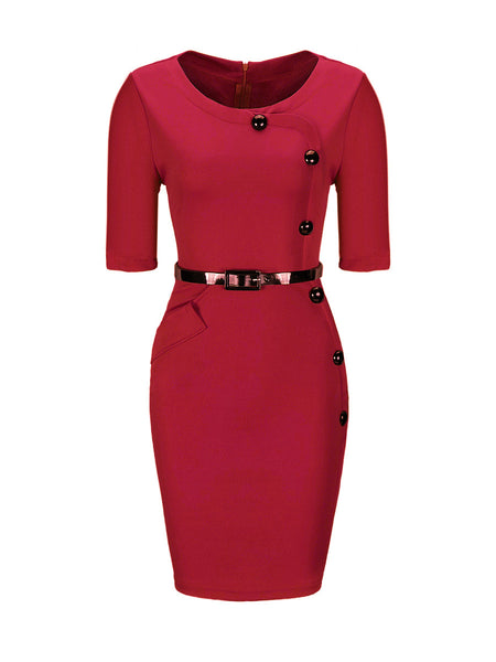 Chic Diagonal Button 3/4 Sleeve Bodycon Dress - Bychicstyle.com