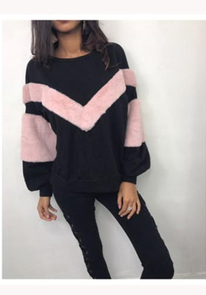 Black Patchwork Print Round Neck Casual Pullover Sweatshirt