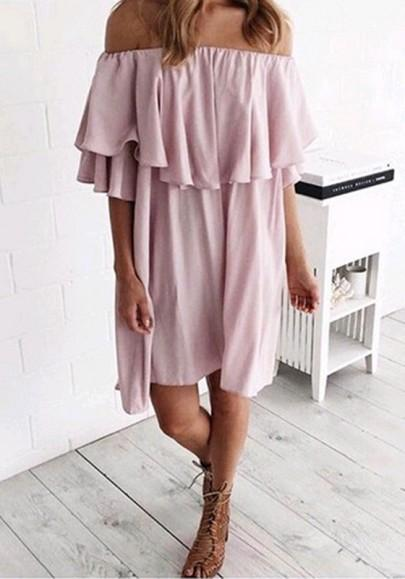 Casual New Women Pink Irregular Ruffle Boat Neck Elbow Sleeve Fashion Mini Dress