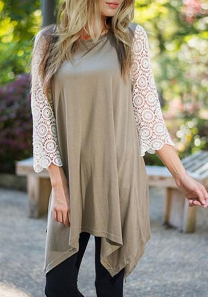 New Women Khaki Patchwork Lace Irregular Round Neck 3/4 Sleeve Loose Casual Mini Dress