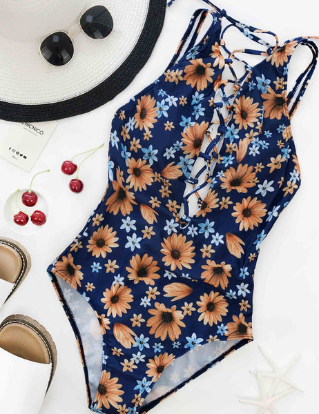 Casual Boho Sexy Lace Up Daisy Print Bikini