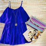 ByChicStyle Casual New Women Blue Plain Condole Belt Pleated Round Neck Mini Dress