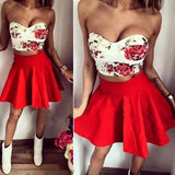 ByChicStyle Women Red Floral Print Bra Sweet Plain Plus Size Two Piece Homecoming Cute Party Mini Dress
