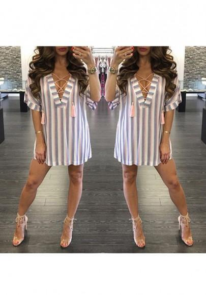 Casual New Women White Striped Tassel Drawstring Plunging Neckline Mini Dress