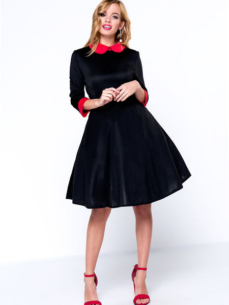 Color Block Vintage Brief Doll Collar Skater Dress - Bychicstyle.com