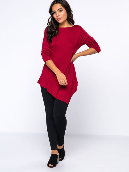 Exquisite Round Neck Asymmetrical Hems Plain Long Sleeve T-Shirt - Bychicstyle.com