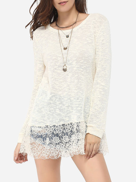 Round Neck Dacron Floral Printed Lace Patchwork Plain Long-sleeve-t-shirt - Bychicstyle.com