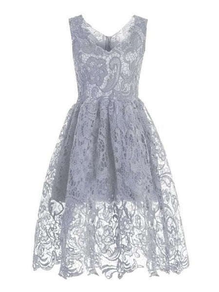 Stunning Sheer Lace Vintage Skater Dress - Bychicstyle.com