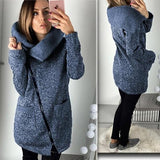 ByChicStyle Blue Pockets Turndown Collar Zipper Casual Cotton Coat