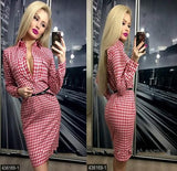 ByChicStyle Red Plaid Pockets Turndown Collar Fashion Midi Dress