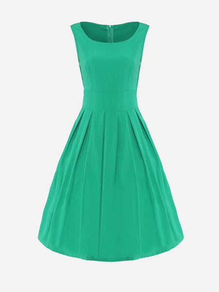Round Neck Plain Sleeveless Skater Dress - Bychicstyle.com