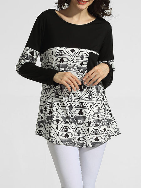 Round Neck Pockets Printed Long-sleeve-t-shirt - Bychicstyle.com