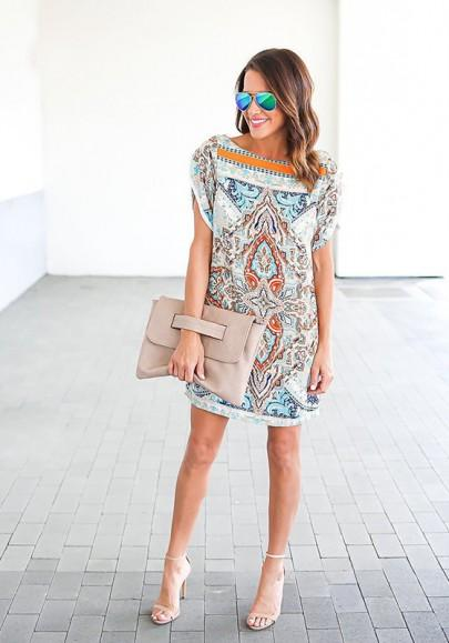 Casual New Women White Floral Print Irregular Chiffon Round Neck Mini Dress
