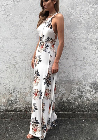 White Floral Sashes Cut Out Fashion Maxi Dress