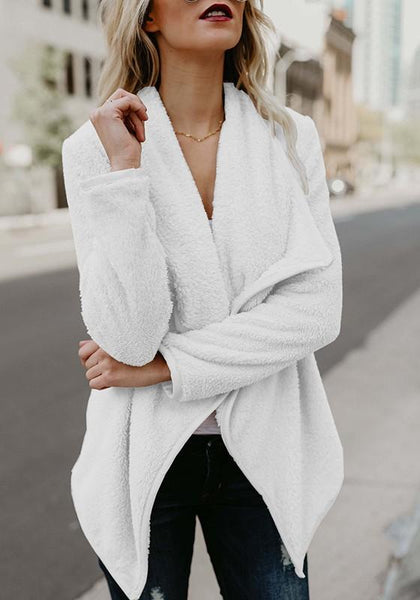 White Plain Irregular Turndown Collar Long Sleeve Casual Coat