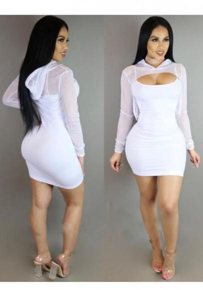 New Women White Grenadine Hooded High-low Top Two Piece Spaghetti Strap Bodycon Mini Dress