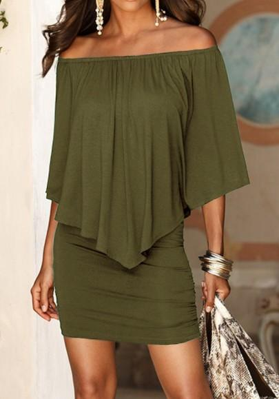 Casual New Women Army Green Plain Double-deck Boat Neck Elbow Sleeve Mini Dress