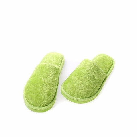Casual Home Slippers Soft Warm Plush Cotton Pure Color Indoor Shoes