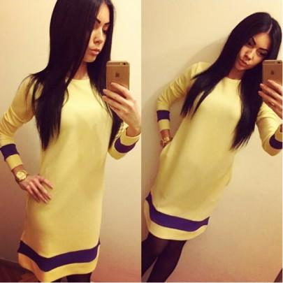 Casual New Women Yellow Patchwork Pockets Round Neck Long Sleeve Mini Dress
