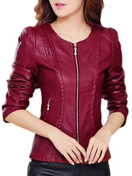 Faux Leather Plain Zipper Awesome Round Neck Jacket - Bychicstyle.com