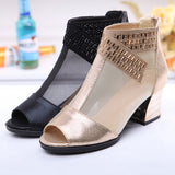 ByChicStyle Casual Big Size Mesh Beaded Peep Toe Square Heel Zipper Shoes