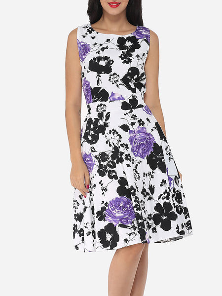 Floral Printed Exquisite Round Neck Skater-dress - Bychicstyle.com