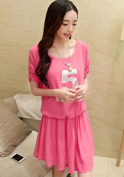 Casual New Women Red Letter Print Half Sleeve Chiffon Dress