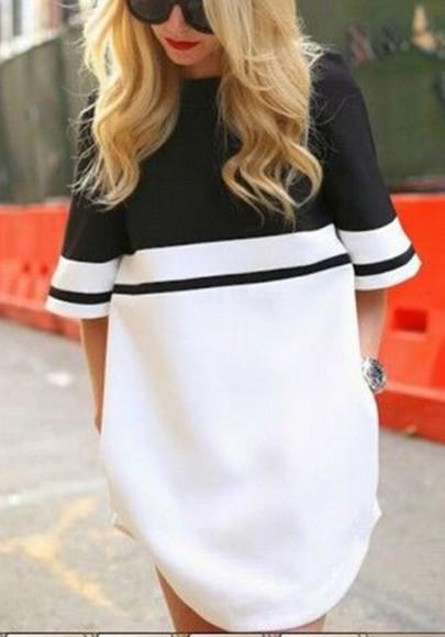 Casual New Women White Patchwork Round Neck Elbow Sleeve Mini Dress