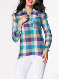 ByChicStyle Casual Turn Down Collar Patch Pocket Plaid Blouse