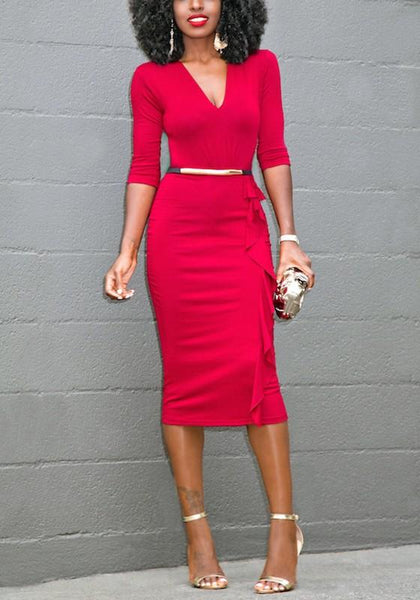 Red Plain Ruffle V-neck Fashion Midi Dress